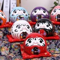 4,5-Zoll-japanische keramische keramische Daruma-Puppe Lucky Charm Glück Ornament Fengshui Zen Handwerk Geldbox Home Tischplatte Dekoration Geschenke T200331