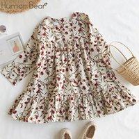 Humor Bear 2020 New Girls Dress Dress Ropa Girl Flower Slim Corduroy Vestido Bebé Coreano Flor Chicas Bebé Ropa