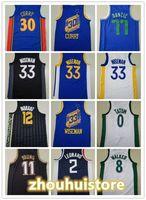 Neue Basketball Blue White Stephen 30 Curry James 33 Wiseman Trae 11 Junge JA 12 Morant 77 Doncic 2 Leonard 1 Edwards Jersey