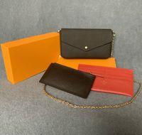 최신 핸드백 지갑 가방 패션 여성 어깨 가방 고품질 3 조각 조합 가방 크기 21 * 11 * 2 cm 61276 상자