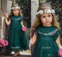 Dark Green Tea Length Flower Girls Dresses for Boho Vintage Wedding Sheer Neck Cap Sleeve Tulle 2017 Custom Baby Child First Communion Dress