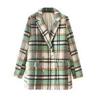 Kadın Takım Elbise Blazers ZXJ Zarif Kadınlar Yeşil Ekose Yün Palto 2021 Moda Bayanlar Kruvaze Streetwear Kadın Chic Cep Ceket