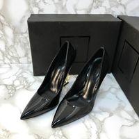 Патентная кожа черные высокие каблуки сексуальные заостренные яркие кожи вечеринки карьеры женские одежды обувь ростом роста платье одежда 11см 8.5см размер 35-43