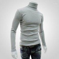Мужские свитера мода мужская зима теплый хлопок высокая шея черный свитер Tops Turtelneck Sweater1