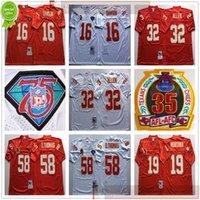 NCAA Football Retro Vintage 58 Derrick Thomas Jersey cousue 16 Len Dawson 19 Joe Montana 32 Marcus Allen Jerseys Mens Rouge pas cher