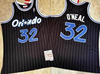 HomensOrlandoMagic ShaquilleO'Neal Mitchell Ness Basketball Jersey, Preto Precisão Costurada Basquete Boberal J