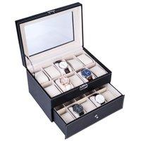 20 Compartimentos Assista Caixa de Coleção Couro Watch Display Mostrar Caixa Caixa Dual Camadas Elegante Coleção de Jóias Armazenamento Item quente