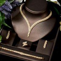 Orecchini Collana Hibride CZ Leaf Design Luxury Bridal Wedding Jewelry Set Donne 4pcs Gold Color Parure Bijoux N-15161