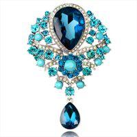 Fleur cristal eau goutte goutte broche broches strass diamant broulettes corsage pour femme hommes bijoux de mariage et cadeau sableux