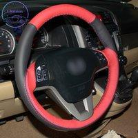 DIY Özel Özel Araba Direksiyon Kapağı Honda CRV 2007-2011 için El Dikiş Siyah Kırmızı Deri Tutucu Dekorasyon