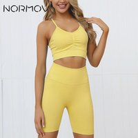 NORMOV Seamless Set Yoga Set Women Push-up Sport Bra And Short High Waist Running Breathable Yoga Gym Workout Sportwear
