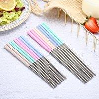Chopsticks de aço inoxidável Quatro cores Long multicolor Sushichopstick Color Sólido Cozinha Presentes Home Acessório Nova Chegada 1 25SY M2