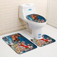 Série de natal banheiro 3 peças conjunto de banho e toalete tapete de água absorvendo antiderrapante casa de banho casa mat ddc3830