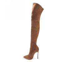 35-43 PU / Suede 2 Option Plus Size Point Toe Spring Over The Knee Buty Damskie buty Długie buty kolanowe z obcasami
