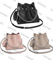 M57201 Mahin 여성 천공 버킷 가방 진짜 송아지 가죽 라운드 코인 지갑 어깨 가방 실버 체인 크로스 바디 핸드백