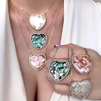 Natürliche Süßwasser Mutter der Perle Muschel Big Heart Anhänger Halskette Pave Zirkonia Gold Farbe Kette Halskette Für Frauen Luxus Y1130