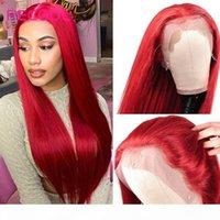 99J Bordo Dantel Ön Peruk Kırmızı HD Şeffaf Dantel Ön İnsan Saç Peruk 13x6 Brezilyalı Düz Renkli İnsan Saç Peruk Recool