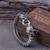 Nunca desvanece a rocha viking charme pulseira de aço inoxidável malha de aço de malha de ouro lobo punk braceletes jóias