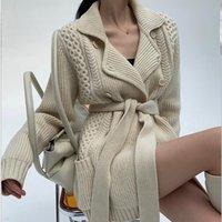 Warm Winter Woll mit F2427 Wollwolle Damenwolle Doppelwool Pullover Breasted völlig casual Ärmeln Tops