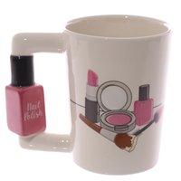 Kreative Keramik Tassen Mädchen Werkzeuge Schönheit Kit Specials Nagellack Griff Tee Kaffeetasse Tasse Personalisierte Becher für Frauen Geschenk LJ200821