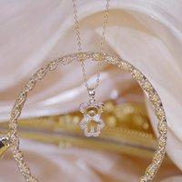 14k Real Gold Feminia Mignon Bear Collier court pour femmes Sous chaude Vente chaude Shine Zircon Couker cadeau cadeau cadeau de mariage de mariage pendentif