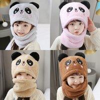 niños adulto invierno más terciopelo cálido panda sombrero bufanda niño niña 2 en 1 espesar ski tapa cuello cálido bufanda sombrero kka8299