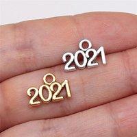 Em estoque 2021 números multicolor colar pingente 14 * 10mm pingentes decorações antigas liga de prata acessórios por atacado