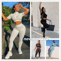 Femmes Tracksuits Two Piece Set Wind 2021 Spring Nouvelle Mode Casual Sleeve Sleeve Novel Top Slim Sportswear