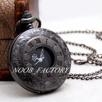Новый стиль крупных арабских цифр шкалы времени ведущий черный двойной дисплей римский ретро флип карманные часы ожерелье женский свитер цепи моды