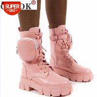 Botas Chunky Botas de Bolso Botas de Botas Mulheres Lace Up Ankle Feminino Feminino Bolsa Tornozelo Mulheres Botas Mujer Plus Size # OD6T