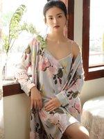 Kadın Pijama 2 adet Set Kadınlar Pamuk Gece Abiye Yaz Elbise Artı Boyutu Nightie Kadın Çiçek Gevşek Pijama Kimono Robe Homewear Sets1