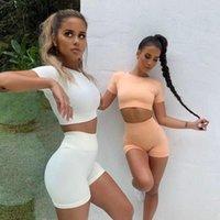 Yoga Outfits Sommer Sport Set Frauen Zwei 2 Stück Ernte Top BH Shorts Sportuit Workout Outfit Dünne Polyester Gym Biker Shorts1
