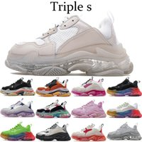 2021 Paris Triple S Cristal Bottom Vert Blanc Tripler Hommes Femmes Casual Chaussures Casual Bottes Plate-forme Sneakers Femmes Sports Dad Shoes