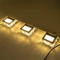 Sıcak Satış 9 W Üç Işıklar Kristal Yüzey Banyo Yatak Odası Lamba Sıcak Beyaz Işık Gümüş Süper Parlaklık Su Geçirmez Duvar Lambaları
