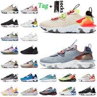 Nike React Vision Epic React Element 55 حار أزياء المرأة رجل ملحمة رد فعل الرؤية الاحذية نيك أورانج أزرق أبيض أسود قزحي الألوان الردد العنصر الرياضية المدربين رياضة عداء