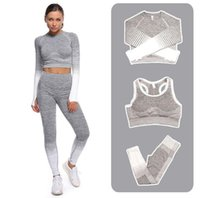 Moda Tasarımcısı Kadınlar Pamuk Yoga Takım Gymshark Sosild Renk Sportwear Eşofmanlar Fitness Spor Seti T Shirt Pantolon Sutyen Ceket Tayt Kıyafetler
