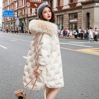 Chaqueta con capucha con capucha de invierno para mujer Chaqueta femenina mujer coreana Parkas Mapache Cuello de piel de perro 2020 Mujeres abrigos pph19191