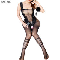 Open Croth Bodysuits Bodystocking Mulheres Lingerie Erótica Porno Transparente Sexy Underwear Lace Sling Traje Pantyhose Q1218