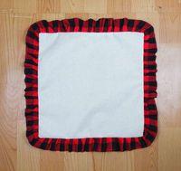 Coussin d'oreiller de sublimation de 18 pouces de sublimation DIY Coussin de draps thermique Jetez des couvre-oreillers Tartan Plaid dentelle taie d'oreiller de la maison