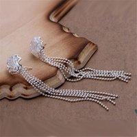 아름다운 장미 비즈 체인 실버 컬러 스터드 귀걸이 고품질 핫 클래식 버스트 모델 실버 쥬얼리 결혼식 E048 H JLLCQA