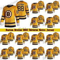 Boston Bruins 2021 Reverse Retro Jersey 88 David Pastrnak 37 Patrice Bergeron 63 Brad Marchand 74 Jake Debrusk maglie da hockey