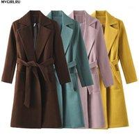 Mvgirlru kadın palto woolblends kadın parkas cepler kuşaklı ceketler kahverengi kahve siyah pembe dış giyim1