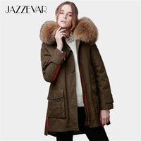 Jazzevar Kadınlar Kış Ceket Ordusu Yeşil Ayrılabilir Büyük Gerçek Rakun Renk Kürk Yaka Kadın Parkas Kapüşonlu Coat 2in1 Dış Giyim 201031