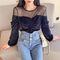 Office Lady Sexy Round Neck Long Sleeve Pullovers Tee Shirts 2020 Fall Women's Velvet T-Shirt See-through Mesh Patchwork Tops