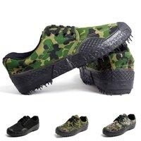 جديد التمويه منخفض قماش أحذية رجالي إمرأة أحذية المشي في الهواء الطلق أسود أخضر اللون شقة ارتداء الرياضة الرياضة أحذية رياضية الحجم 36-46 سبعة