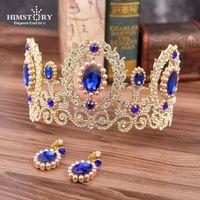 Himstory New Wedding Royal Capelli Accessori Blu Crystal Bridal Pageant Tiaderas Corvo Grande gioielli per capelli di lusso di lusso del rhinestone