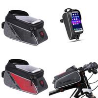 Bicicleta frente marco bolsa montaña bicicleta impermeable teléfono soporte de teléfono ciclismo flip pantalla táctil top bolsas de tubo cremallera negro rojo 35lxa g2