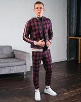 Yeni Eğitim Takım Elbise Moda Rahat erkek Fitness Setleri Streep Patchwork Kapşonlu Sweatpants Spor Pak Streetwear