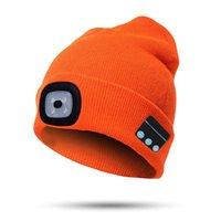 قبعة / جمجمة قبعات بلوتوث قبعة قبعة مع الصمام المصباح المضيء كاب قابلة للشحن اللاسلكي شتاء دافئ متماسكة MU8669