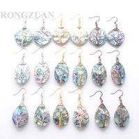 Dangle Chandelier Elegante orecchini per donne gioielli regali albero di vita bronzo argento oro avvolgere filo abalone conchiglia orecchino TBR347